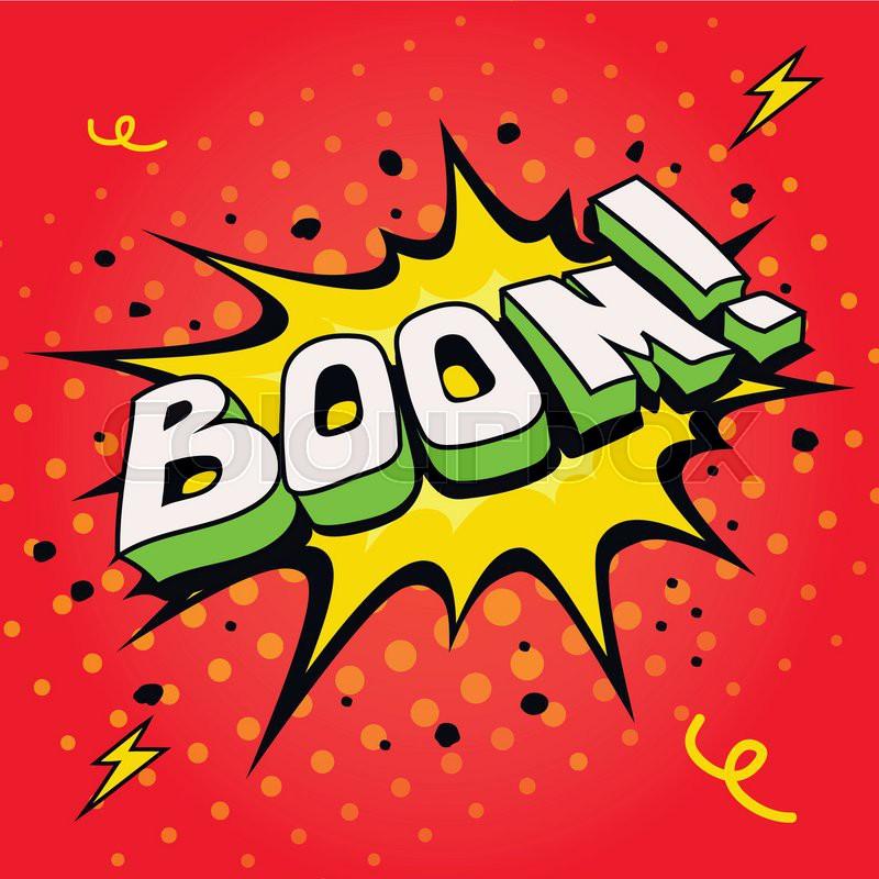 800x800 Boom. Comic Book Cartoon Explosion Vector Illustration. Stock