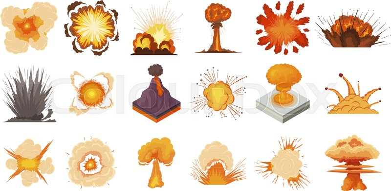 800x390 Explosion Icon Set. Cartoon Set Of Explosion Vector Icons For Web