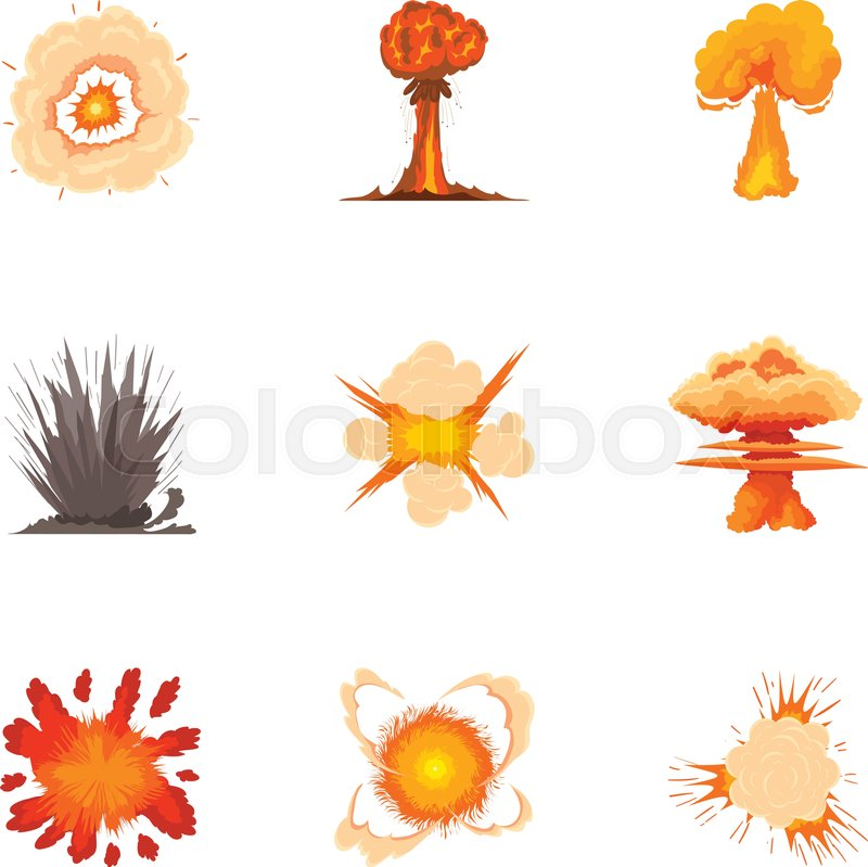 800x799 Explosion Icons Set. Cartoon Set Of 9 Explosion Vector Icons For