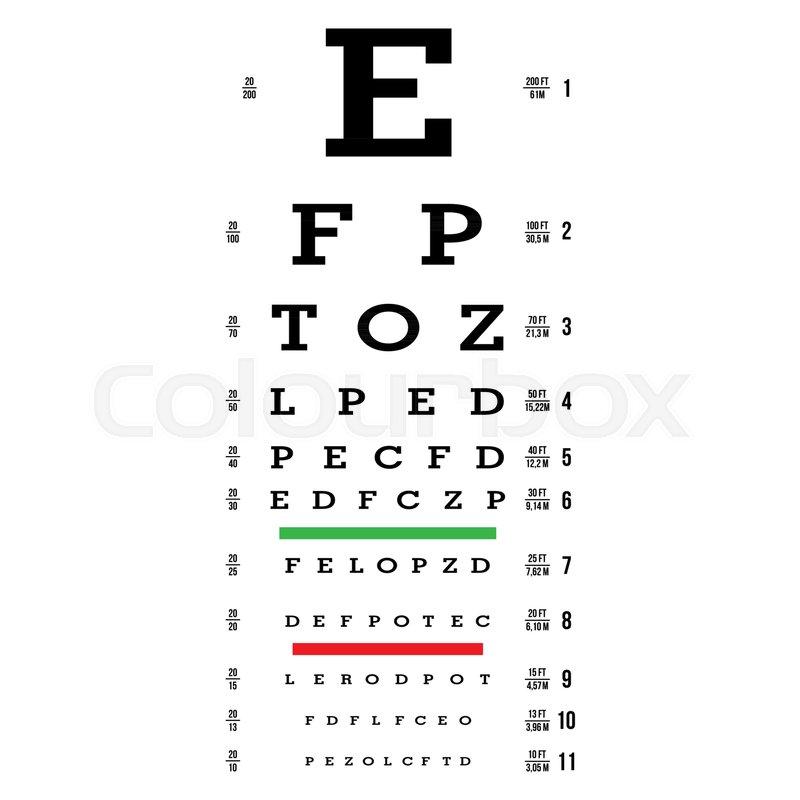 800x800 Eye Test Chart Vector. Letters Chart. Vision Exam. Optometrist