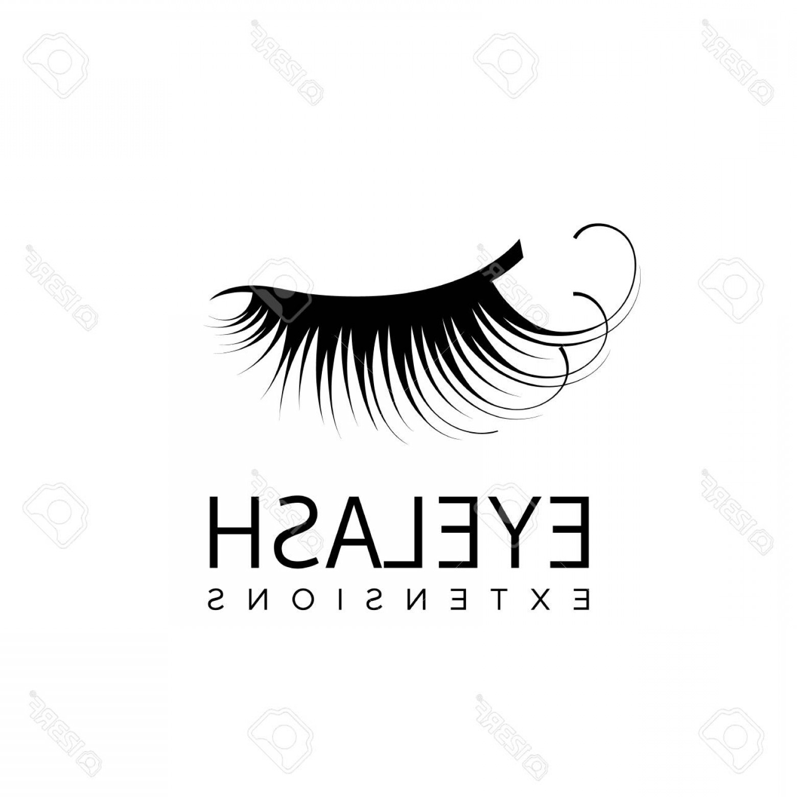 90d577b7182 1560x1560 Photostock Vector Eyelash Extension Logo With Closed Eye With Long
