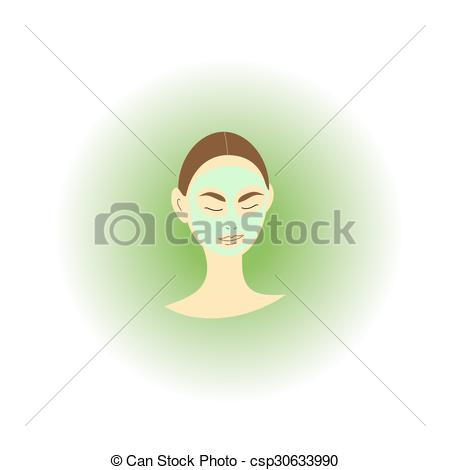450x470 Face Mask. Woman With A Cosmetic Mask In Her Face.