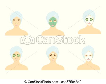 450x357 Facial Mask Vector. Vector Illustration Beautiful Woman With