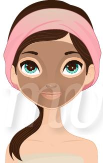 206x327 Girl Spa Facial Mask Illustration, Girl Spa Facial Mask Vector