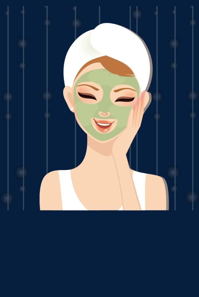 650x973 Skin Beauty Cartoon Beauty Face Mask Apply, Skin Care, Makeups