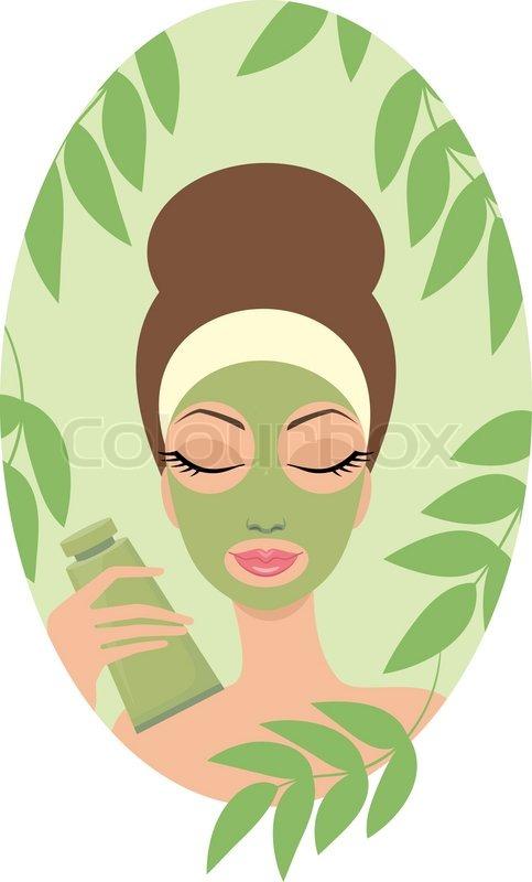 483x800 Woman With Facial Mask Stock Vector Colourbox