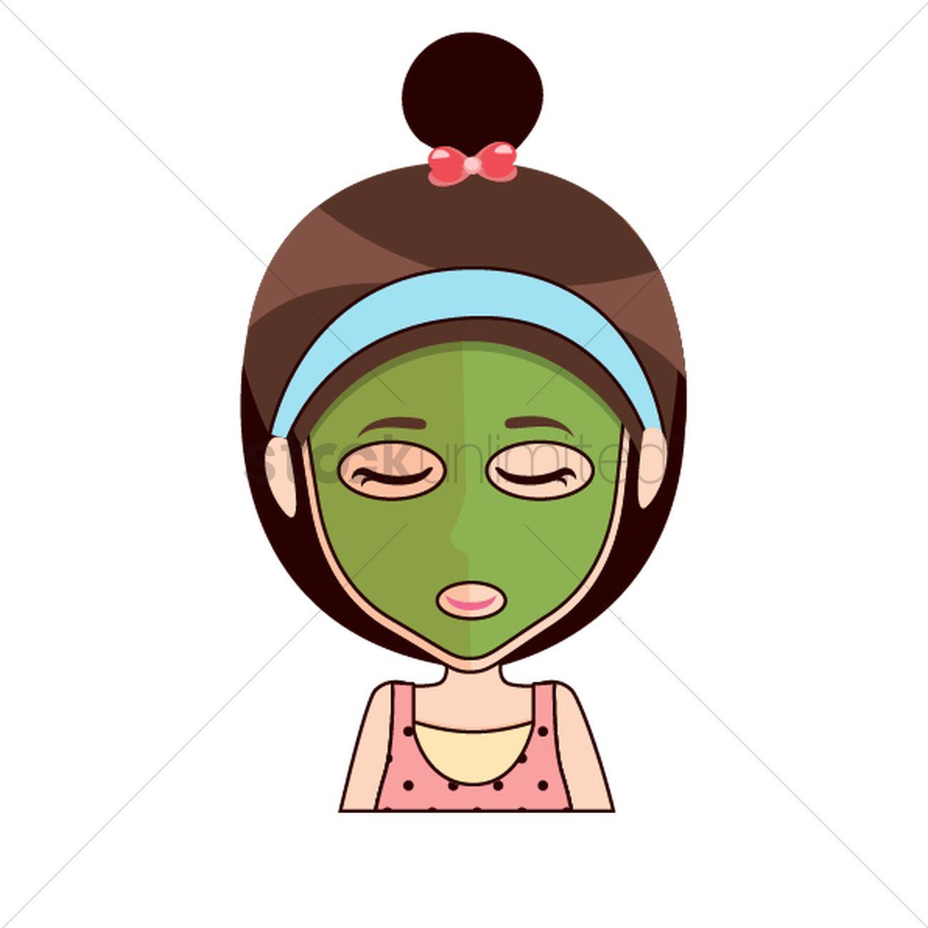 1300x1300 Cartoon Girl With Beauty Mask Vector Image