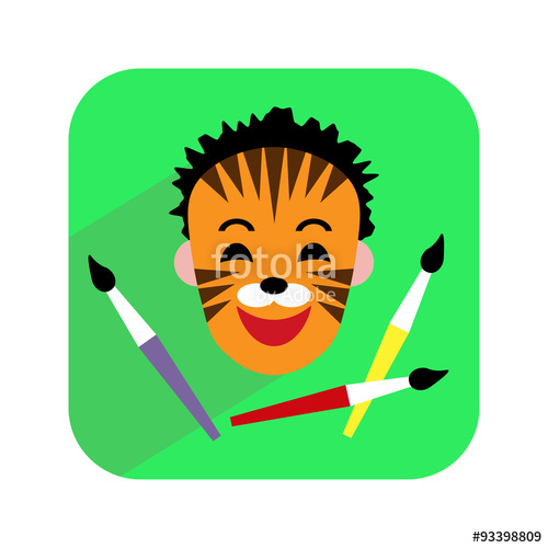 500x500 Colorful Icon. Face Painting. Child With Painted Face And Brushes