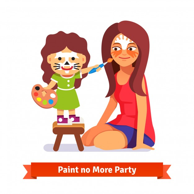 626x626 Face Painting Party. Girl And Her Teacher Vector Free Download