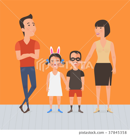 450x468 Family With Kids Face Painting Vector Illustration