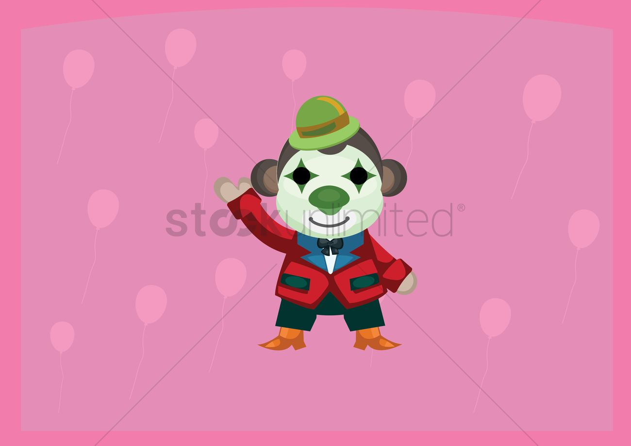 1300x919 Free Circus Monkey With Clown Face Paint Waving Vector Image