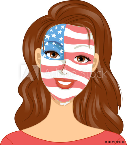 440x500 Girl Memorial Day Face Paint Illustration