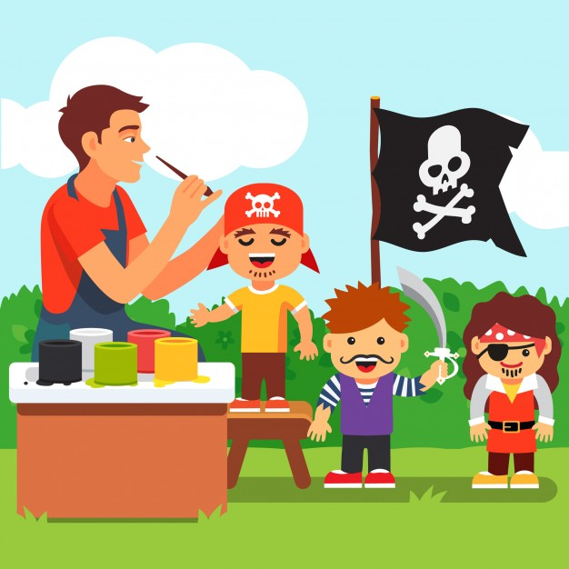 626x626 Kids Pirate Face Painting Party In Kindergarten Vector Free Download