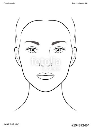 354x500 Practice Board For Face Painting. Female Face. Size A4. Vector