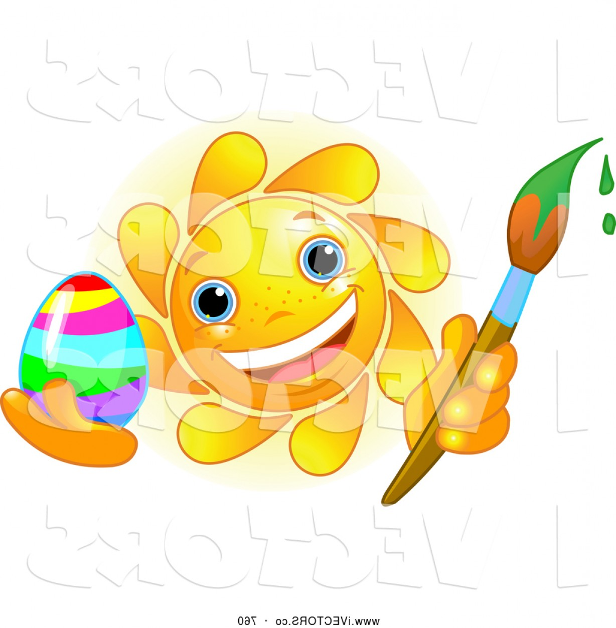 1228x1252 Vector Graphic Of A Friendly Cute Sun Face Painting An Easter Egg