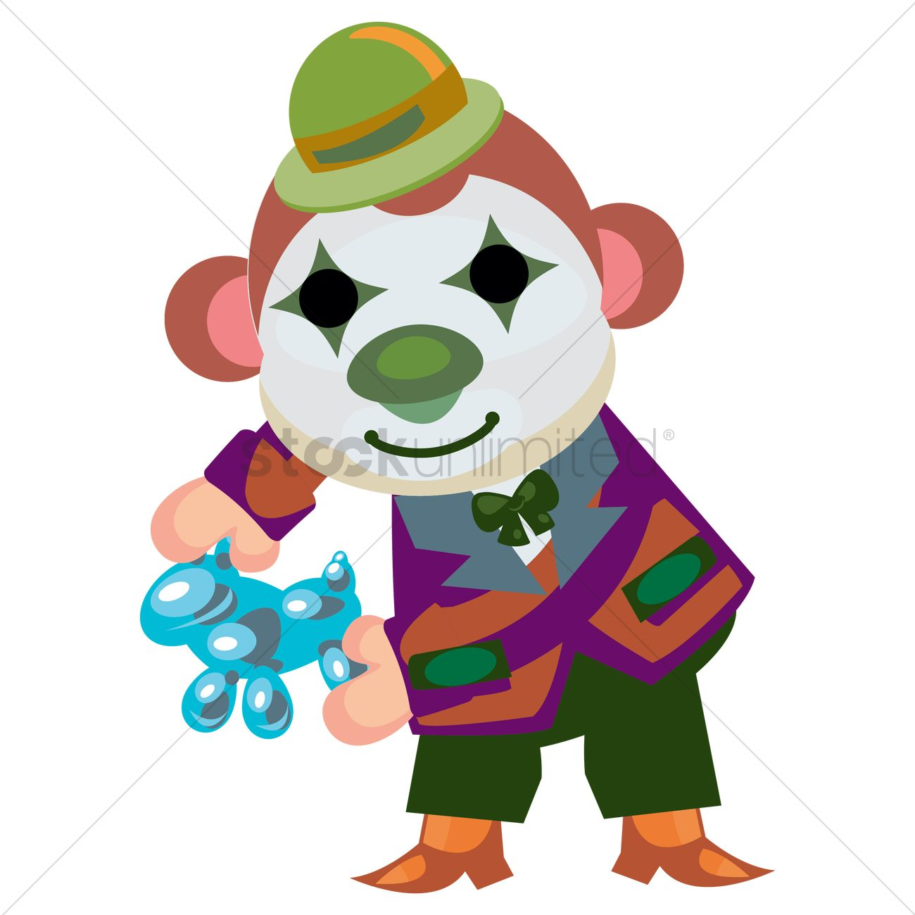 1300x1300 Circus Monkey With Clown Face Paint Making Balloon Animals Vector