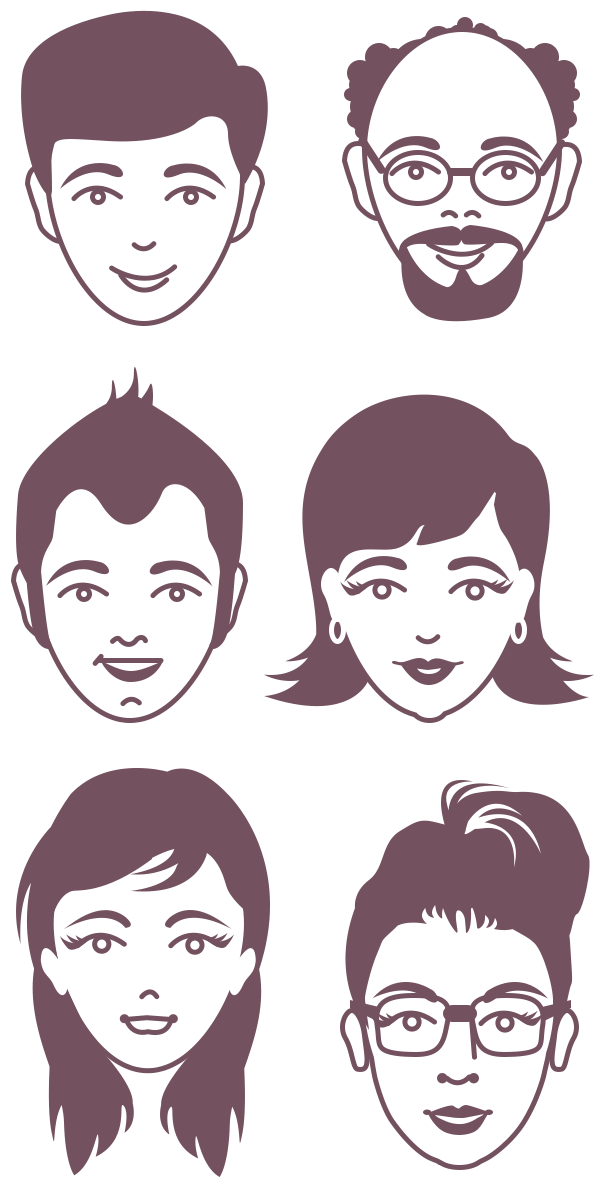600x1200 Male And Female Avatar Vector Faces (Psd Character