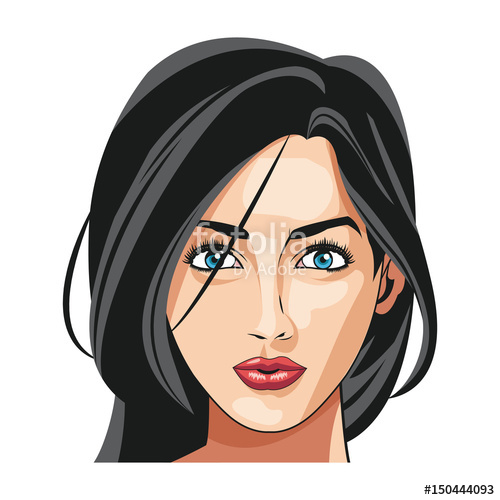 500x500 Beautiful Woman Face Fashion Image Vector Illustration Stock