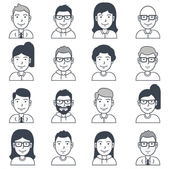 580x580 16 Free Vector User Avatar Icons Icon Avatar
