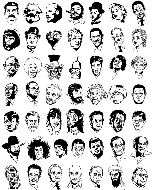 600x734 Free Sketchy Faces Free Celebrity Vectors Psd Files, Vectors