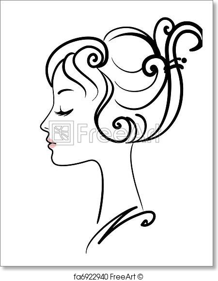 450x580 Free Art Print Of Beautiful Girl Face Vector Illustration