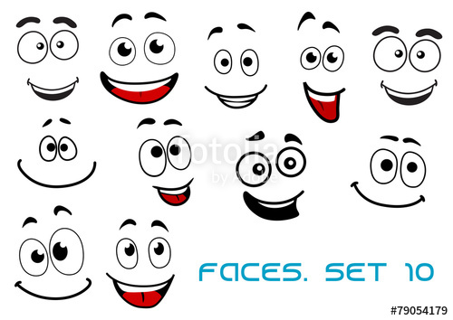 500x354 Happy Emotions On Cartoon Faces Stock Image And Royalty Free