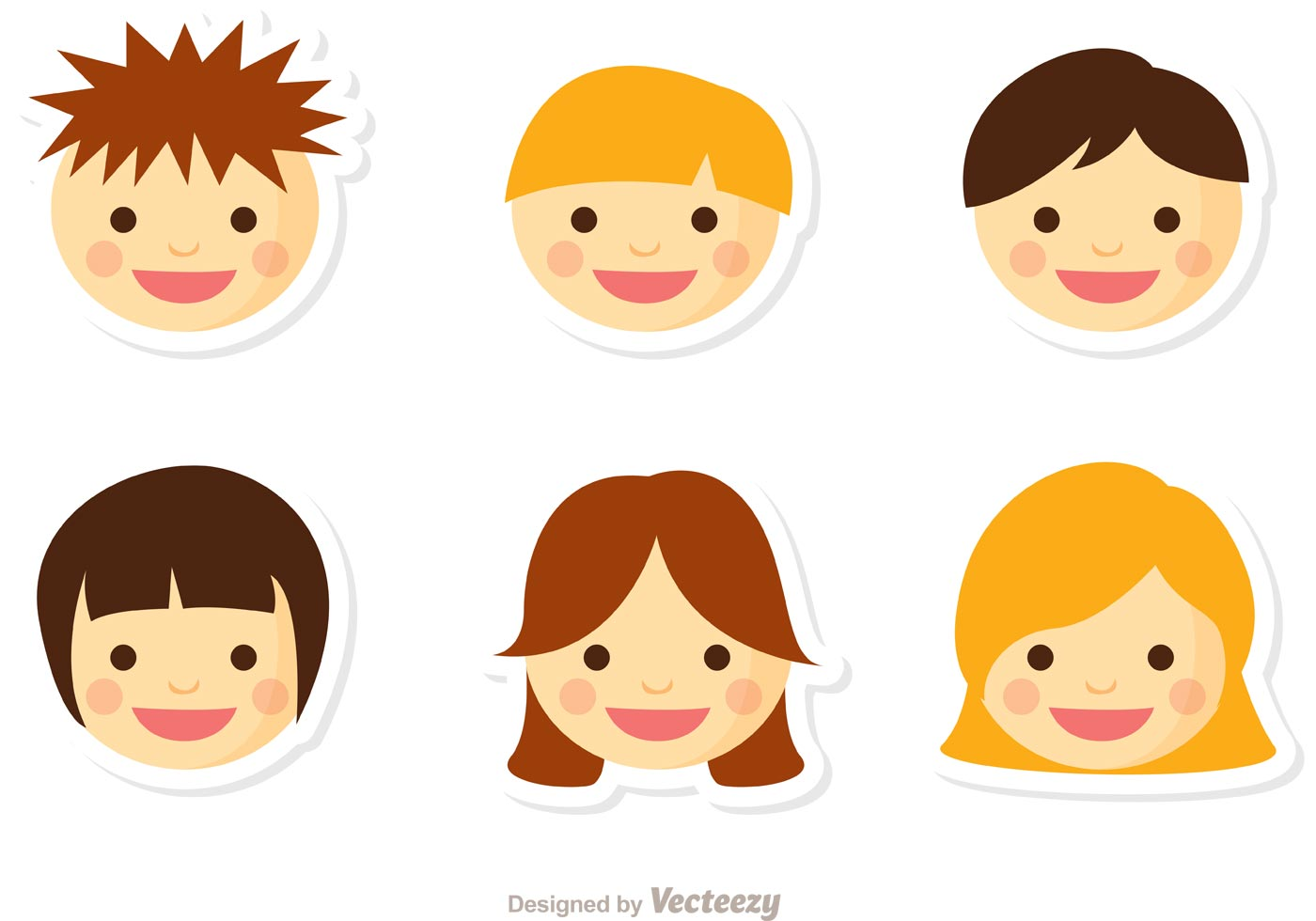 1400x980 Kids Faces Free Vector Art