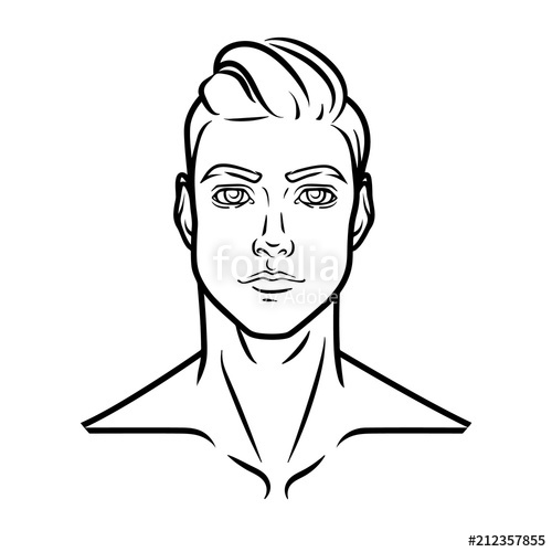 500x500 Man Profile Face. Vector Portrait . Stock Image And Royalty Free