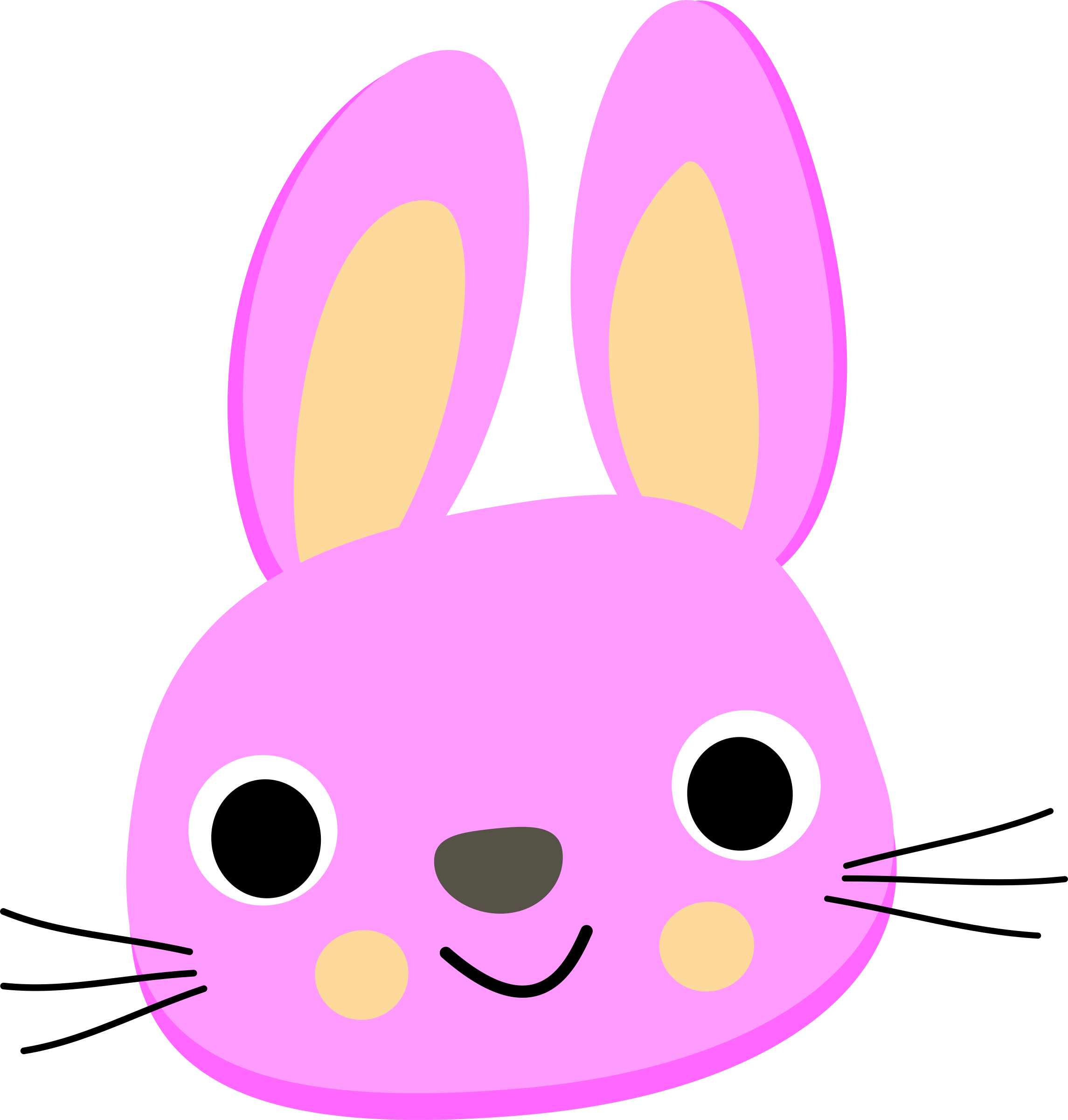 2290x2400 Purple Bunny Face Vector Art Image