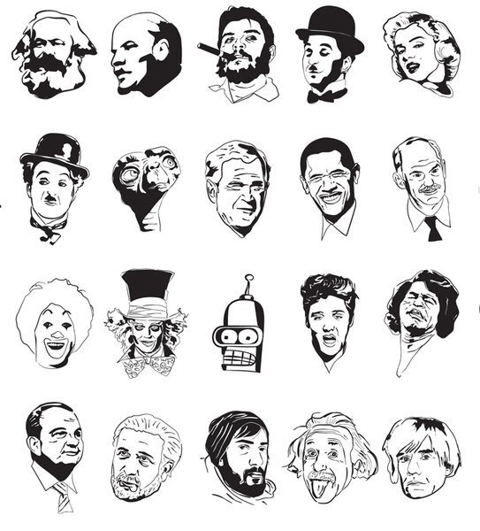 543x600 Sketchy Faces Vector Free Vector Download In .ai, .eps, .svg Format