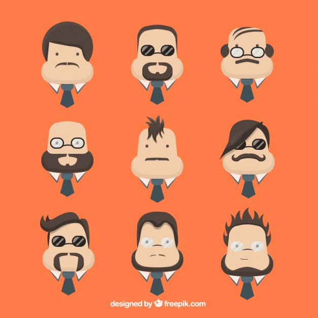 626x626 Character Men Faces Vector Free Download