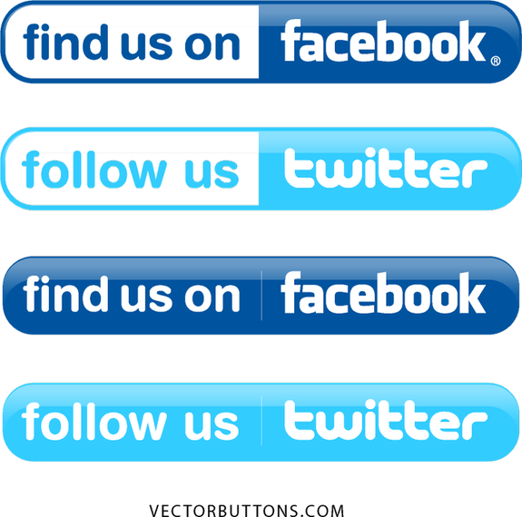 575x570 Simple Facebook And Twitter Buttons