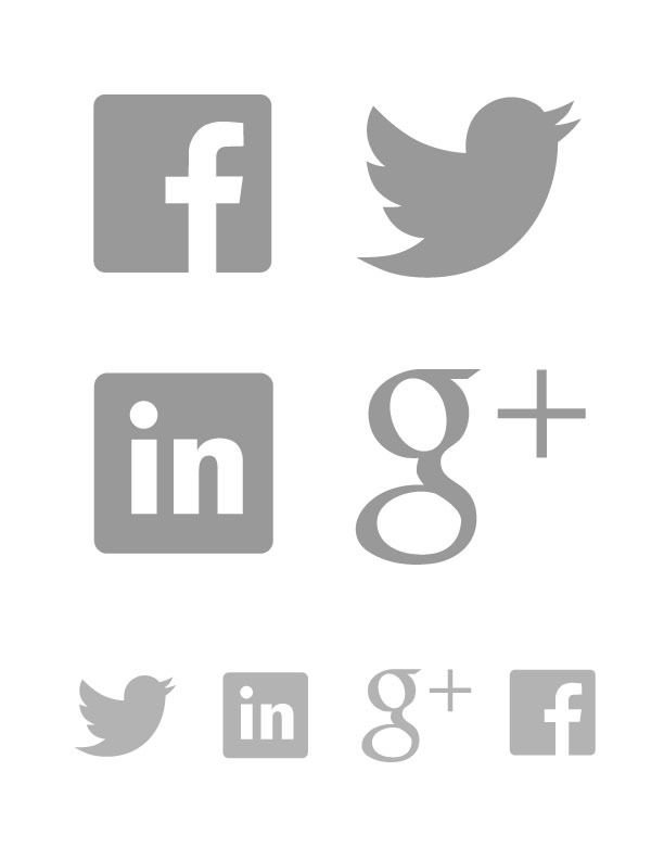 612x792 Twitter, Facebook, Google Plus And Linkedin Icons Ai Vector