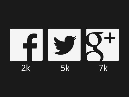 530x400 Flat Social Network Icons (Vector)