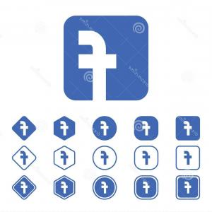 300x300 Set Facebook Flat Icon White Background Isolated Vector