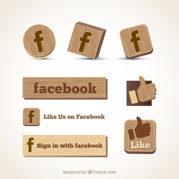 626x626 Ai] Wooden Facebook Icons Vector Free Download