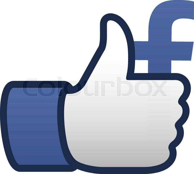 800x715 Facebook Like Thumbs Up Symbol Icon, Vector Illustration. Stock