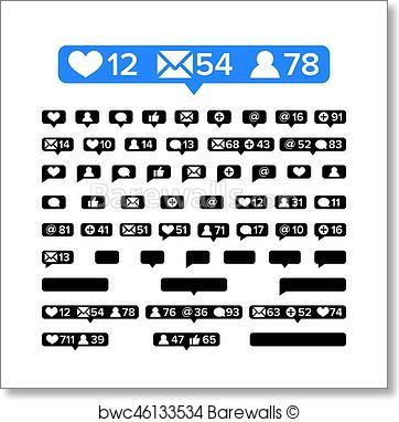 362x382 Art Print Of Notifications Icons Template Vector. Bubble
