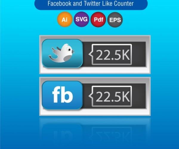 600x498 Vector Facebook Twitter Social Like Counter