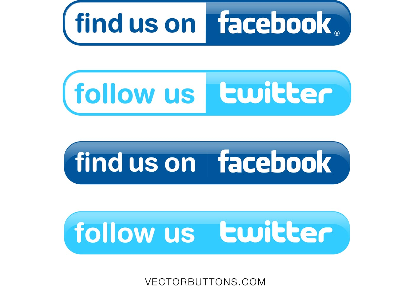 1400x980 Simple Facebook And Twitter Buttons