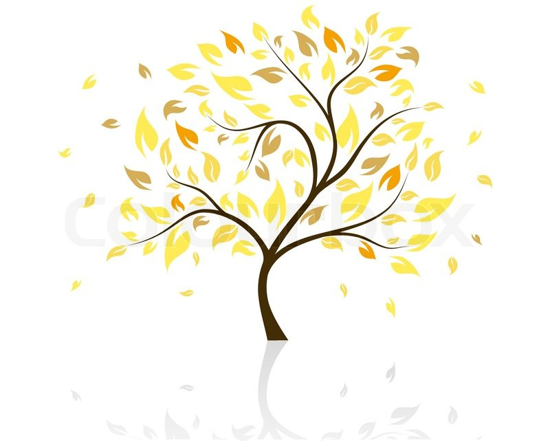 800x642 Vector Illustration Of Autumn Tree With Falling Leaves Stock