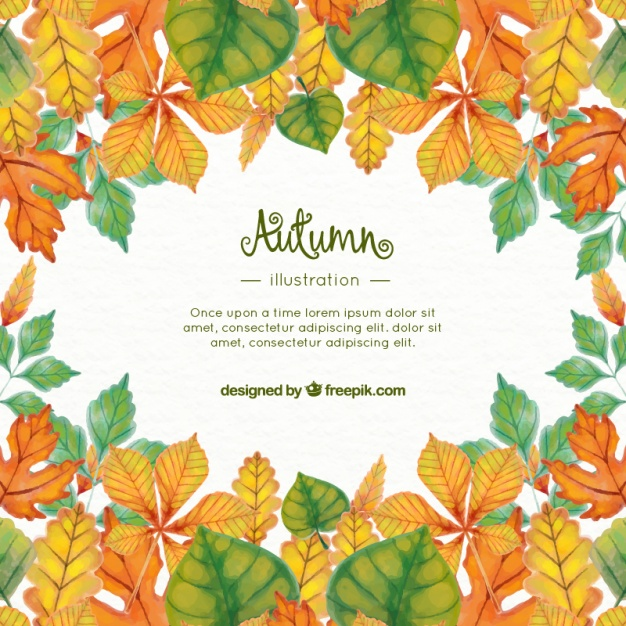626x626 Watercolor Fall Leaves Background With Template Vector Free Download