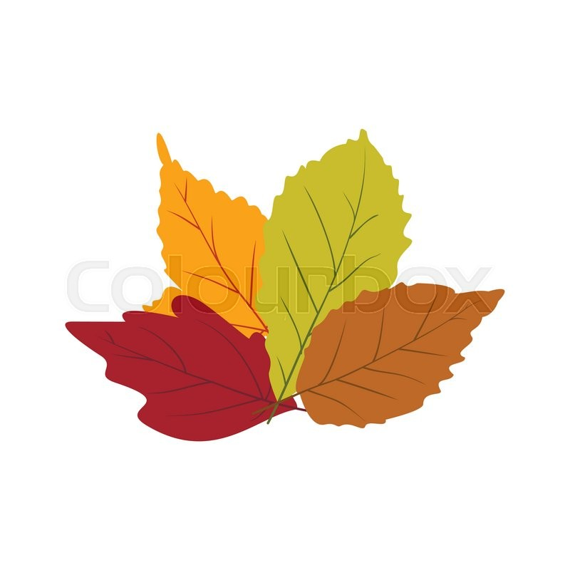 800x800 Autumn Leaves Icon In Flat Style Isolated On White Background