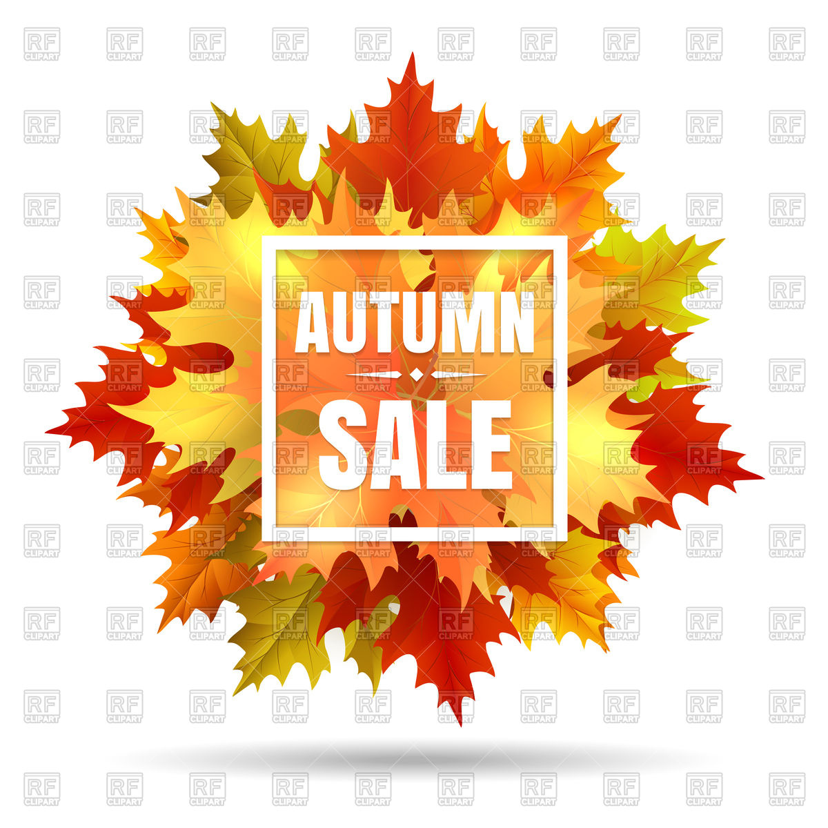 1200x1200 Autumn Sale Banner With Fall Leaves Vector Image Vector Artwork