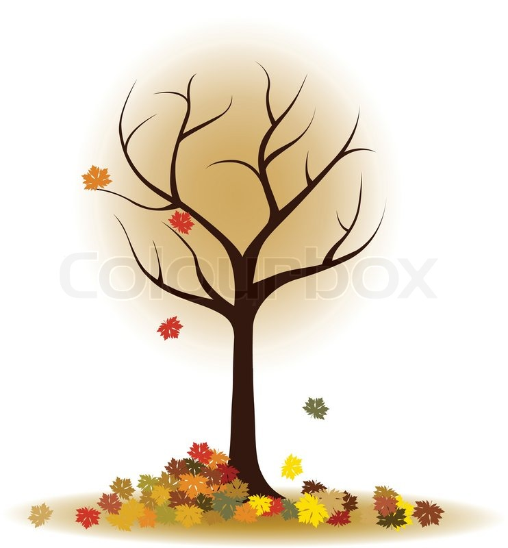 742x800 Autumn Tree With Falling Leaves, Maple Leaves Stock Vector