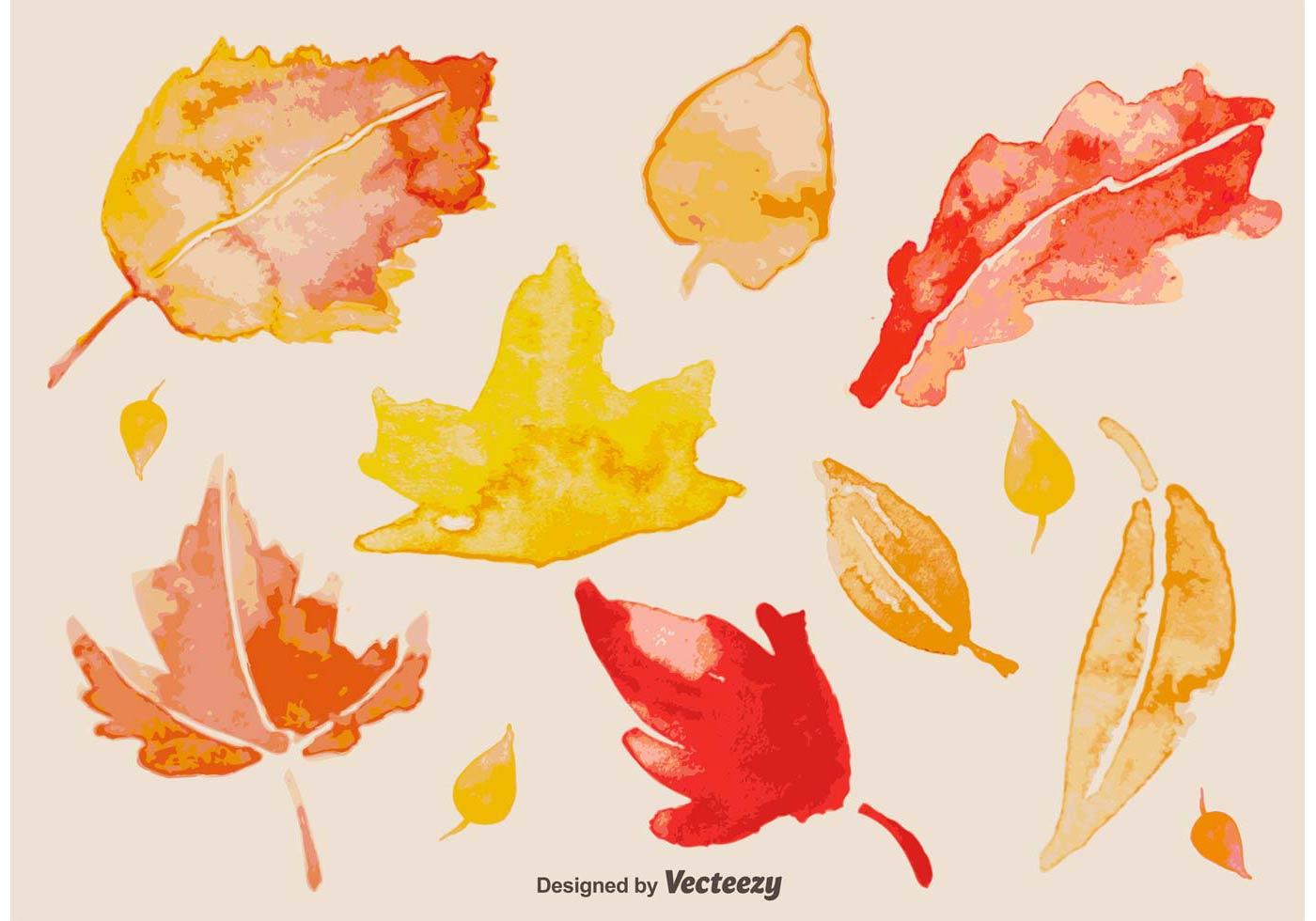 1400x980 Watercolour Autumn Leaves