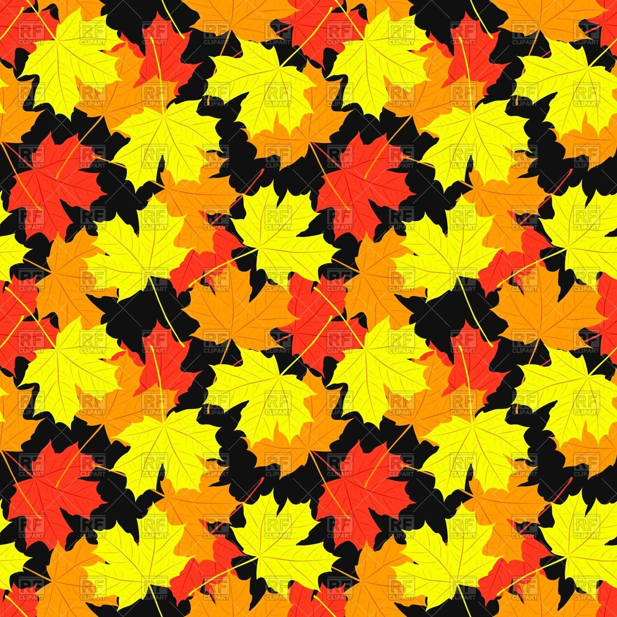 1200x1200 Seamless Pattern Of Autumn Maple Leaves