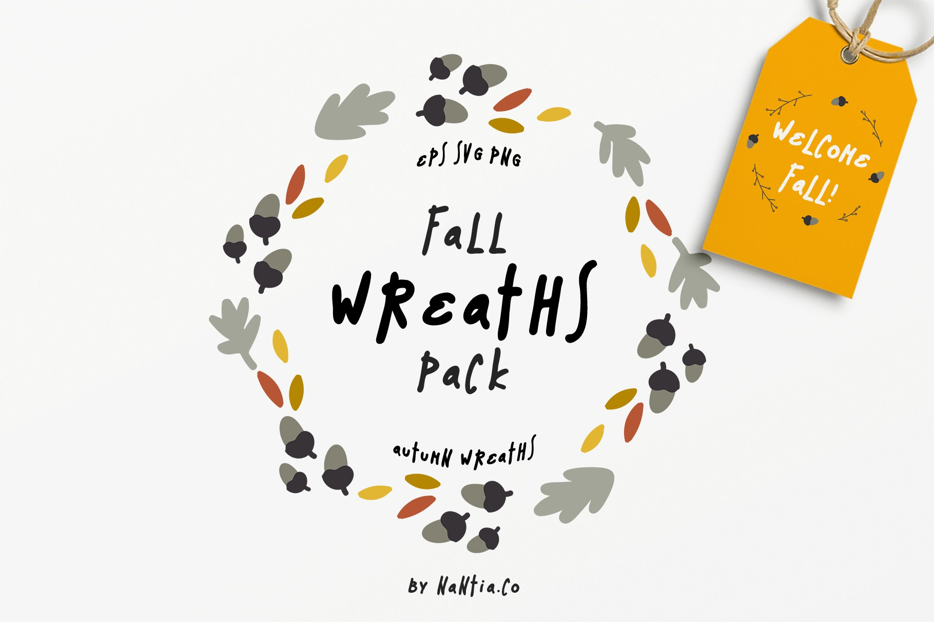 1820x1211 Welcome Fall! 30 Fall Vector Wreaths Pack