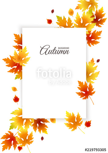 354x500 Autumn Background With Empty Space For Text, Fall Vector Poster