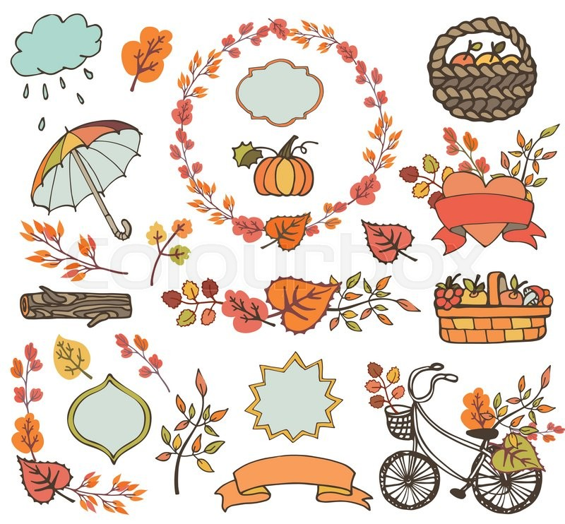 800x742 Autumn Elements.colored Leaves ,tree Branches,bike,ribbons And